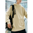 Plain Funnel Neck Long Sleeve Pullover Hoodie in Loose Fit