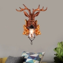 Rustic Outdoor Wall Lighting with Resin Deer Design Clear Glass 1 Light Wall Lamp in Black