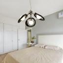 Black/White Ring Hanging Chandelier Light Modernism Resin 3/5 Bulbs Living Room Lighting