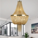 Gold Empire Chandelier Light with Metal Chain Shade 8 Bulbs Modern Hanging Light