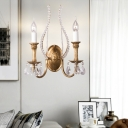 Vintage Candle Wall Lighting Metal 1-Light Indoor Wall Sconce Light in Brass with Crystal Accents