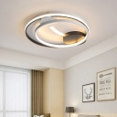 Double Square/Circle Led Flush Mount Ceiling Light Modernism Metal Ceiling Lighting in Black and White