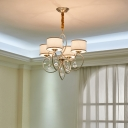 4 Lights Drum Ceiling Chandelier Traditional Fabric Hanging Lighting in Champagne Gold
