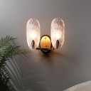 Oval Textured Glass Wall Lamp Modern 1/2-Light Wall Light Fixture in Black and Gold for Corridor