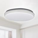 White Round Flush Ceiling Light Modern Crackle Acrylic Shade Led Flush Mount Lighting in White/Neutral/Warm, 16