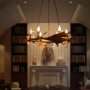 Retro Ring Pendant Lighting with Antlers Brown Resin 8 Heads Chandelier Light Fixture for Foyer
