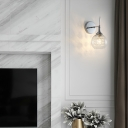 Smoke Gray Glass Globe Wall Lamp Contemporary 1 Light Wall Sconce with Crystal in Chrome Finish