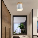 1 Bulb Gray/White/Green Conical Flush Mount Ceiling Light Metal Contemporary Ceiling Mounted Light for Bedroom