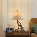 White Fabric Shade Table Lamp with Bell Shade Single Light Lodge Style Standing Table Light