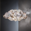 Acrylic Cloud Pendant Lamp with Faceted Design 4 Bulbs Post Modern Hanging Ceiling Light in Clear/Gold