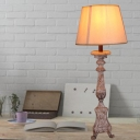 French Country Cone Standing Table Light Fabric Shade 1 Light Table Lamp with Solid Wood Lamp Base