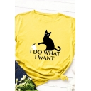 Casual Letter I DO WHAT I WANT Cat Print Short Sleeve Cotton T-Shirt