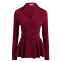 Solid Color Double-Breasted Notched Collar Ruffle Peplum Blazer Coat