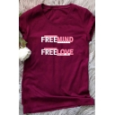 Colorblocked Letter FREEMIND FREELOVE Printed Short Sleeve Casual T-Shirt for Women