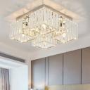 Modern Squared Flush Mount Lighting Clear K9 Crystal 4/6 Heads Flush Ceiling Lamp in Chrome