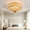 Foyer Round Flush Ceiling Lamp Clear Crystal 3/5 Lights 16