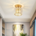 Mini Cylinder Flush Lamp with Clear Faceted Crystal Shade Modern 1 Light Flush Mount Light in Gold