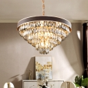 9/12 Lights Multi Layer Chandelier Contemporary Faceted Crystal Hanging Light in Gold, 19.5