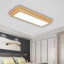 10/17 Inch Wide Rectangle Close to Ceiling Lamp Simple Wood LED Flush Light in Warm/White/Natural