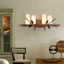 Lodge Style Cylinder Wall Mounted Lighting with Pinecone Opal Handblown Glass 4 Heads Wall Light Fixture in Brown