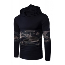 Mens Camouflage Panel Long Sleeve Casual Pullover Hoodie