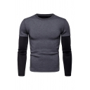 Men's Fashionable Fake Two Piece Panelled Long Sleeve Two-Tone Sport Sweatshirt