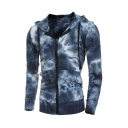 Unique Tie Dye Printed Long Sleeve Zip Up Slim Fit Hoodie with Pocket