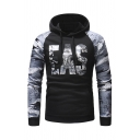 Cool Mens Camo EAS Letter Printed Long Sleeve Drawstring Hoodie