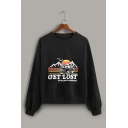 GET LOST Letter Bus Pattern Printed Long Sleeve Black Pullover Sweatshirt