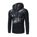 Retro Floral Print Black Long Sleeve Drawstring Hoodie with Pocket