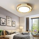 Nordic Drum Flush Ceiling Light with Wood Accents and Diffuser Led Flushmount Light