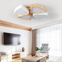 4/6 Lights Living Room Ceiling Lights Flush Mount, Modern Wood and Iron Lighting Fixture in Warm/White