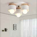 3/7 Heads Cylinder Ceiling Lights Flush Mount Modern Metal Wooden Ceiling Fixture for Indoor