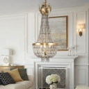 Wood Bead Empire Chandelier Lamp 3 Lights French Country Hanging Pendant Light for Living Room