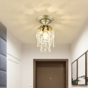 Modern Style Mini Ceiling Light 1 Light Metal Brass Flush Ceiling Lamp with Crystal Bead for Corridor