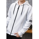 Men's Hot Fashion Simple Letter NOW Print Long Sleeve Drawstring Hoodie Jacket