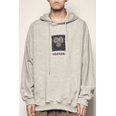 Men's Vintage Funny Monkey Letter Print Long Sleeve Drawstring Pullover Hoodie