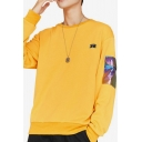 Mens Cool Laser Pocket Designed Letter Figure Printed Long Sleeve Round Neck Casual Pullover Sweatshirt