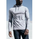 Men's Hot Fashion Simple Plain Long Sleeve Casual Running Pullover Hoodie