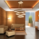 White Square Hanging Ceiling Light Contemporary Metal Led Living Room Chandelier