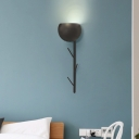 Metallic Bowl Wall Sconce Light 1 Light Modern Black/White Wall Mount Light with Hat Rack