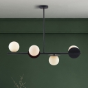 4 Lights Sphere Hanging Lamp Modern Style White Glass Kitchen Island Light in Black/Gold