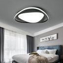 Black Triangle Flush Ceiling Light with Diffuser Minimalist Metal Integrated Led Flushmount Light in Third Gear