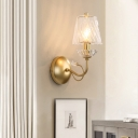 Stair Foyer Candle Wall Light with Tapered Crystal Shade Metal 1 Light Modern Gold Finish Wall Lamp