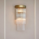 Gold Cylinder Wall Light 2 Lights Contemporary Clear Crystal Sconce Light for Dining Room Hallway