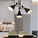 Modern Style Hourglass Chandelier Lighting 3/5 Lights Metal Black Hanging Lamp for Living Room