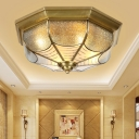 Dimple Glass Polygon Flush Ceiling Light 4 Bulbs 14