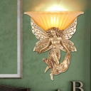 Resin Mermaid Wall Lighting Art Deco 1 Bulb Gold Wall Mount Lighting with Opal Glass Shade