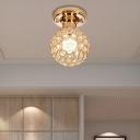 Crystal Circle Ceiling Fixture Modern Design Metal 1 Head Global Lighting Fixture for Bedroom