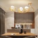 3 Lights Egg Hanging Chandelier Modern Milk Glass Pendant Lamp with Metal Nest